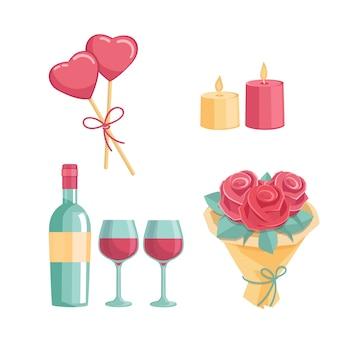 Ícones para um jantar romântico