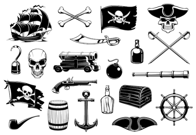 Ícones piratas do crânio, mapa do tesouro do peito e navio.