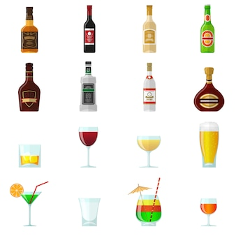 Ícones plana de álcool