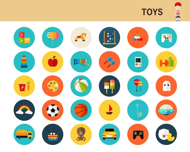 Ícones plana de brinquedos conceito.