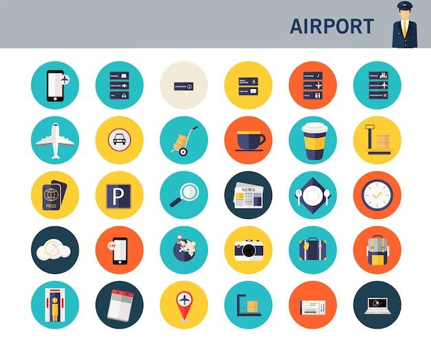 Ícones plana de conceito de aeroporto.