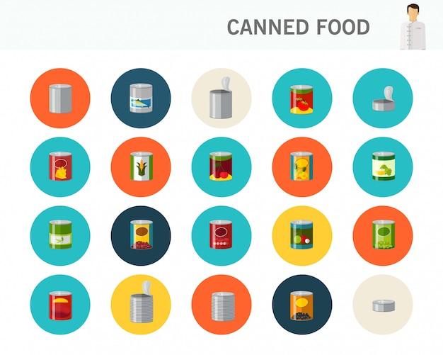 Ícones plana de conceito de alimentos enlatados.
