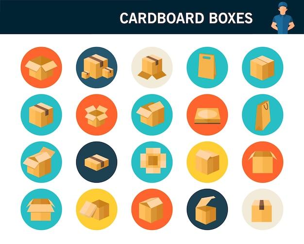 Ícones plana de conceito de caixas de papelão.