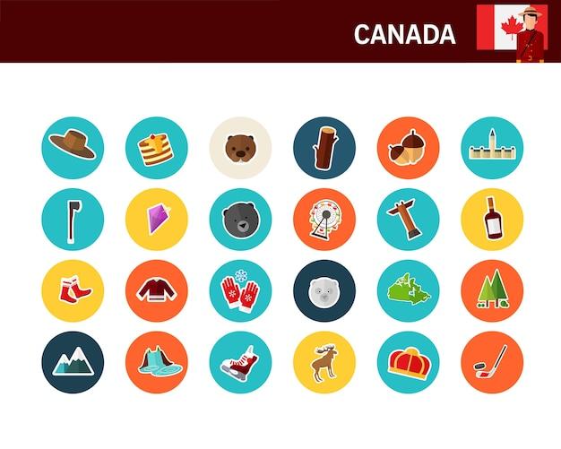 Ícones plana de conceito de canadá