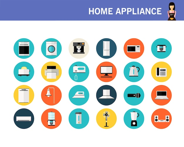 Ícones plana de conceito de eletrodomésticos.