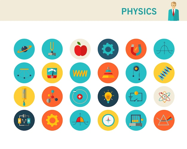 Ícones plana de conceito de física.
