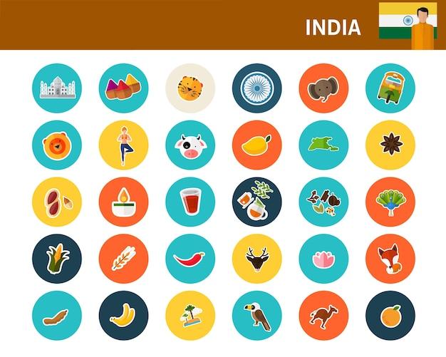 Ícones plana de conceito de índia
