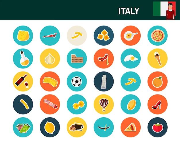 Ícones plana de conceito de itália