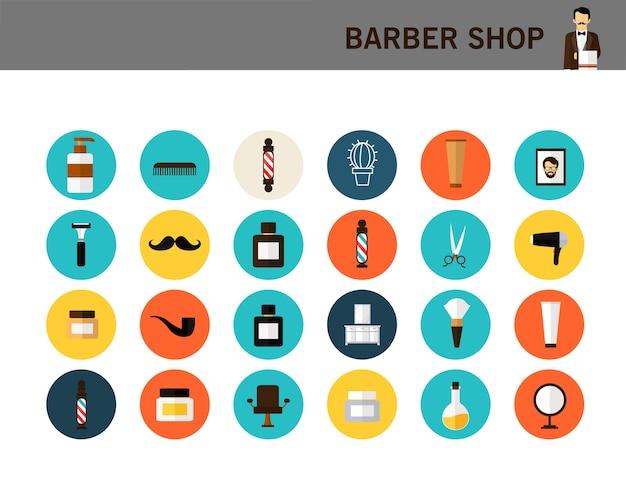 Ícones plana de conceito de loja de barbeiro.