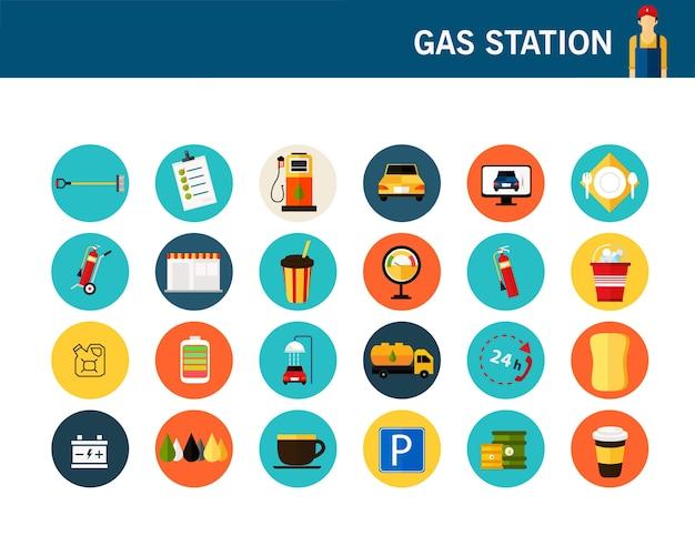 Ícones plana de conceito de posto de gasolina.