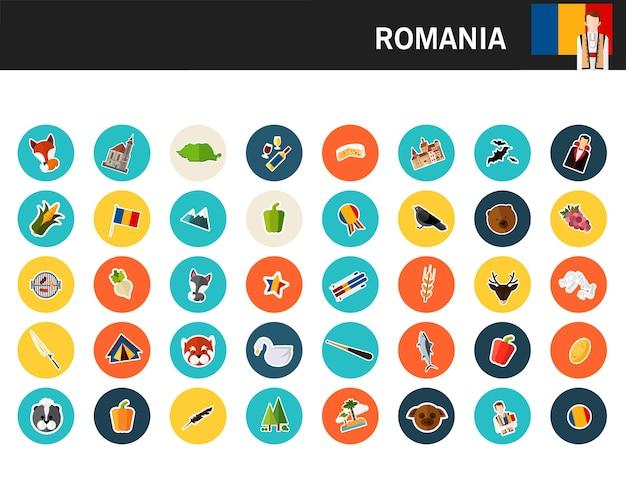 Ícones plana de conceito de roménia