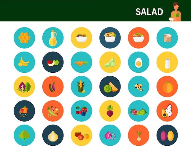 Ícones plana de conceito de salada fresca