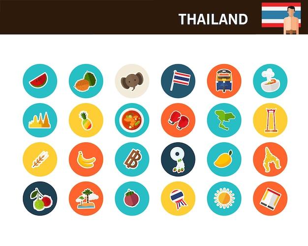Ícones plana de conceito de tailândia