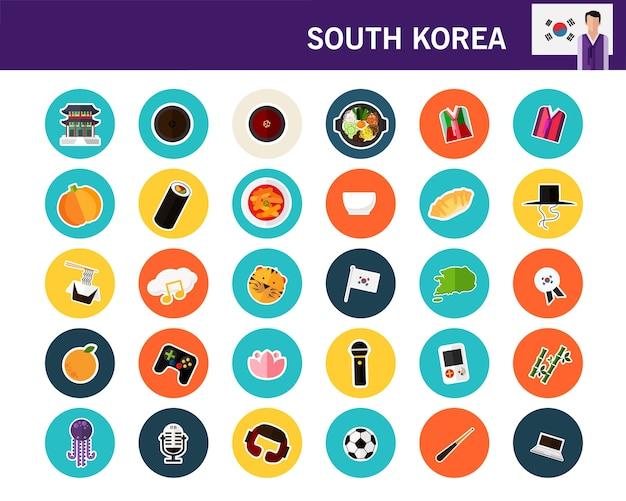 Ícones plana de coreia do sul conceito