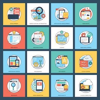 Ícones plana de desenvolvimento web