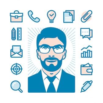 Ícones plana de empresário