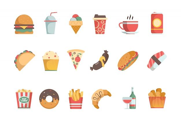 Ícones plana de fast-food. sanduíche hambúrguer bebidas geladas sorvete pizza hambúrguer vector comida menu símbolos