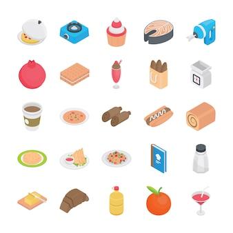 Ícones plana de receitas de comida