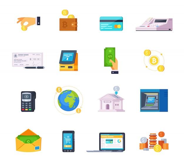 Ícones plana ortogonais de tecnologia financeira definida com cartões de crédito bancário on-line e caixa automático