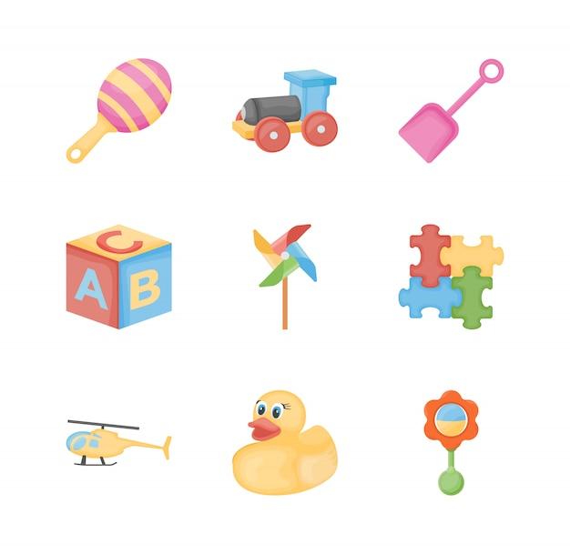 Ícones planas de brinquedos de bebê