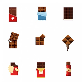 Ícones planas de chocolate.