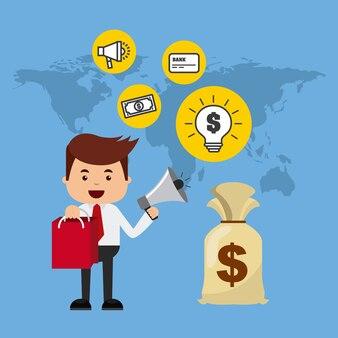 Ícones planas de comércio e finanças