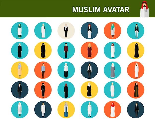 Ícones planas de conceito de avatares muçulmanos.