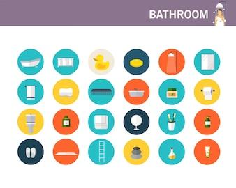 Ícones planas de conceito de banheiro.