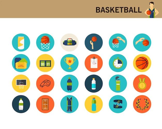 Ícones planas de conceito de basquete.