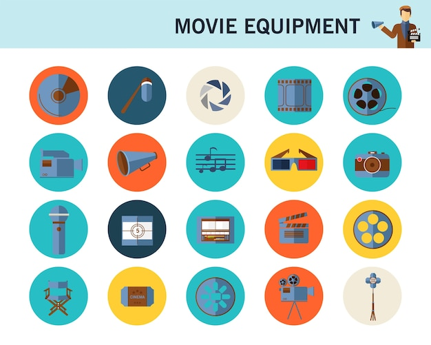 Ícones planas de conceito de equipamento de filme.