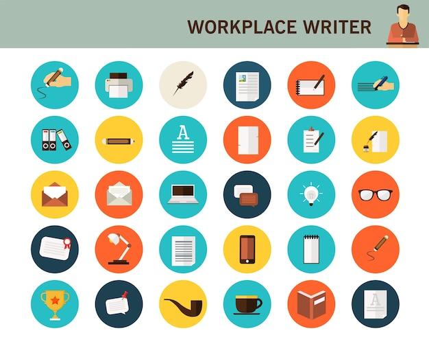 Ícones planas de conceito de escritor de local de trabalho.