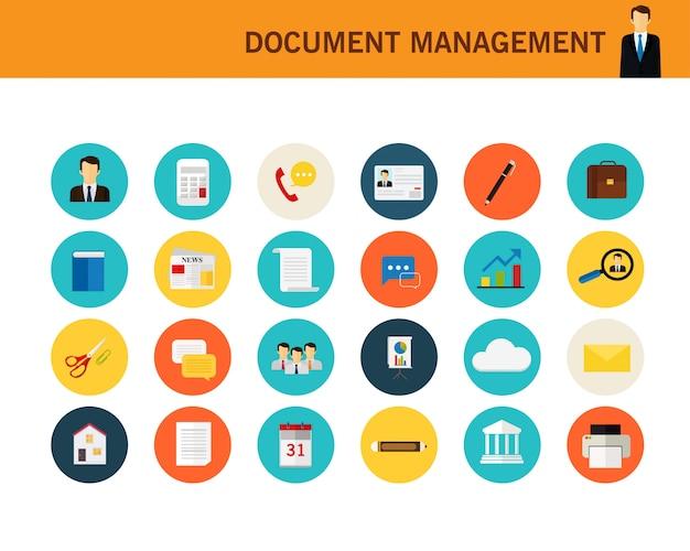 Ícones planas de conceito de gerenciamento de documento