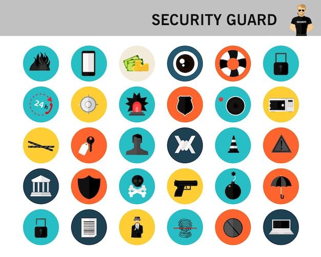 Ícones planas de conceito de guarda de segurança.