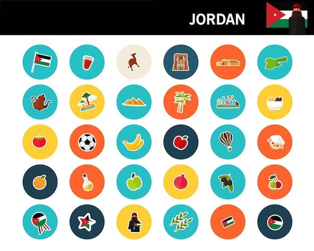 Ícones planas de conceito de jordan