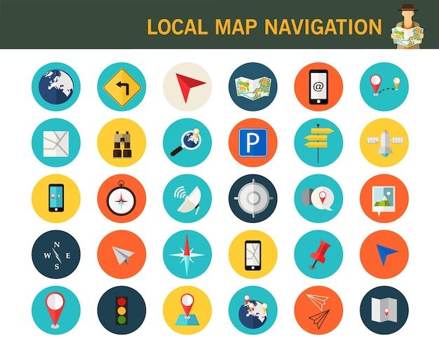 Ícones planas de conceito de navegação mapa local.