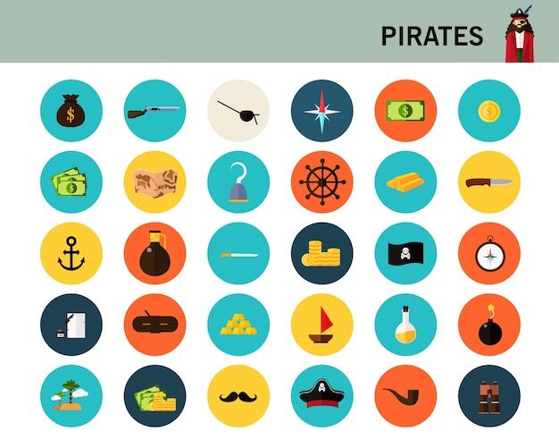 Ícones planas de conceito de piratas.