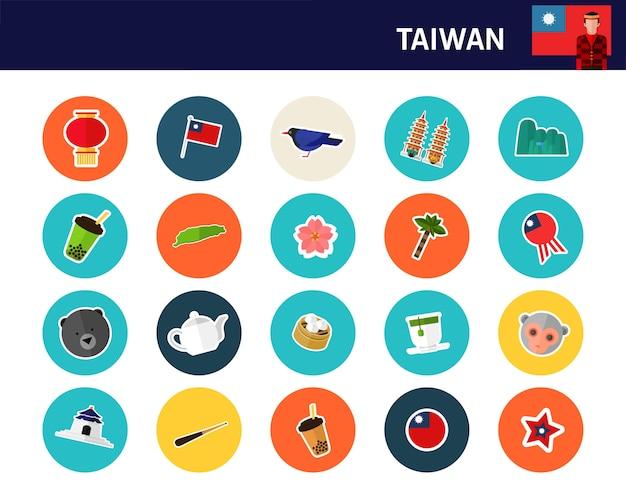 Ícones planas de conceito de taiwan