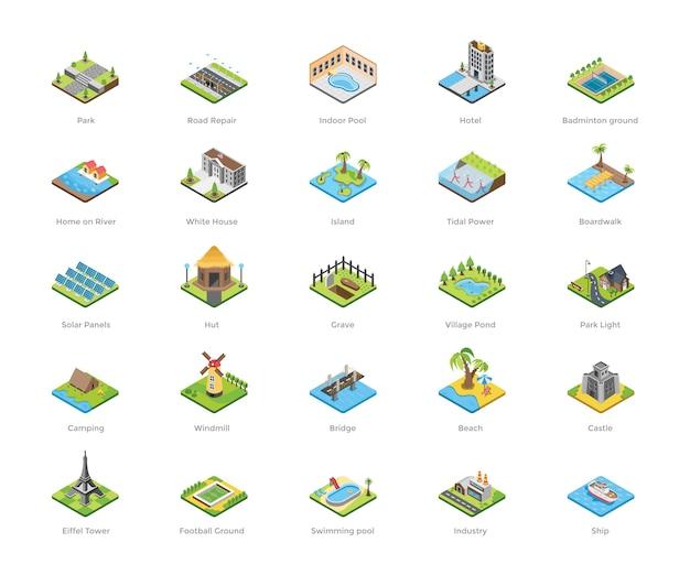 Ícones planas de construção