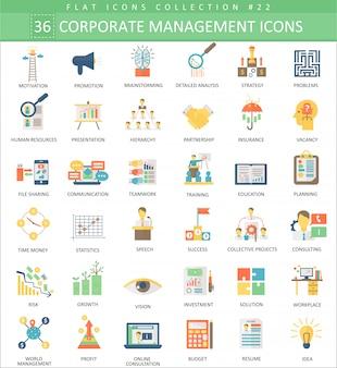 Ícones planas de cor de gestão corporativa