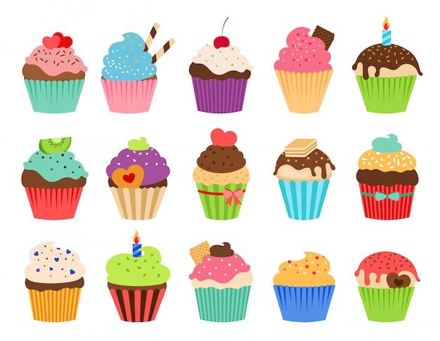 Ícones planas de cupcakes. cupcake de aniversário delicioso e coleção de vetor de bolinho de casamento isolada