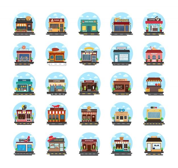 Ícones planas de edifícios comerciais