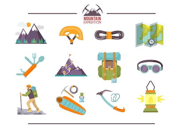 Ícones planas de escalada