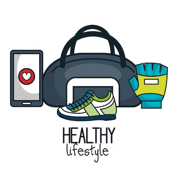 Ícones planas de estilo de vida saudável