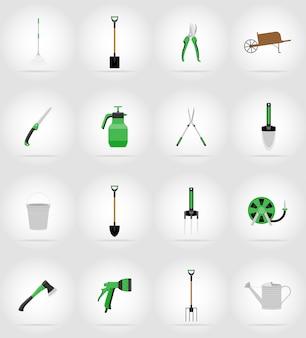Ícones planas de ferramentas de jardinagem.