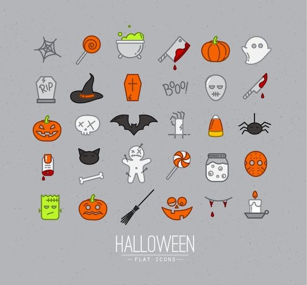 Ícones planas de halloween cinza