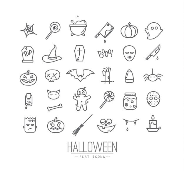 Ícones planas de halloween