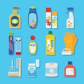 Ícones planas de higiene e produtos de limpeza