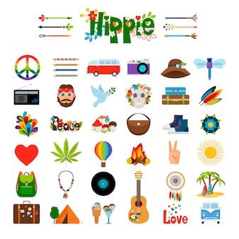 Ícones planas de hippie