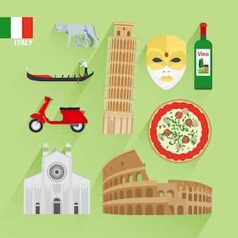Ícones planas de itália