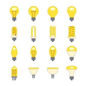 Ícones planas de lâmpada
